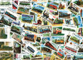 Trains And Steam Engines - Background Of Postage Stamps Stock Image - 28105831