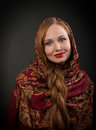 Portrait Of Smiling Slavonic Girl With Red Braided Hair Royalty Free Stock Images - 28106249