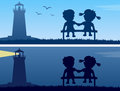 Lighthouse And Kids Silhouettes Royalty Free Stock Images - 28111029