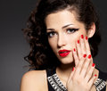 Beauty Fashion Woman With Red Nails And Makeup Royalty Free Stock Photography - 28120207