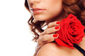 Woman Holding Rose Royalty Free Stock Image - 28124276