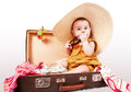 Funny Baby Girl Sitting In Old Suitcase Royalty Free Stock Photo - 28127325