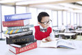 Boy Study Literature Books At Library Stock Photography - 28130232