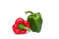 Fresh Red And Green Sweet Pepper Isolated On White Stock Photo - 28134940