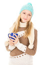 Teen Girl Holding A Cup Stock Image - 28139641