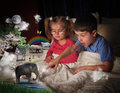Animals At Bed Time With Children Royalty Free Stock Photo - 28146425