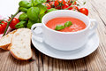 Tasty Fresh Tomato Soup Basil And Bread Royalty Free Stock Image - 28149786