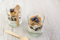 Two Glasses With Natural Yogurt With Fresh Blueberries Royalty Free Stock Images - 28153149