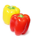 Close Up Of Two Colored Peppers Vegetables Royalty Free Stock Image - 28153536