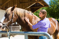 Young Woman In The Stable With Horse Royalty Free Stock Photography - 28157257