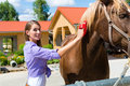 Young Woman In The Stable With Horse Stock Photos - 28157333