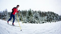 Young Man Cross-country Skiing On A Snowy Forest Trail Stock Image - 28161541