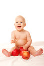 Laughing Baby With Big Red Apples Stock Image - 28165581