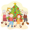 Christmas. Happy Family Dancing Together. Royalty Free Stock Photos - 28175698