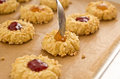 Almond Cookies With Fruit Jam Royalty Free Stock Image - 28176826