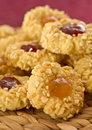 Almond Cookies With Fruit Jam Royalty Free Stock Image - 28176886