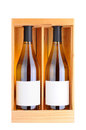 Two White Wine Bottles In Wood Case Stock Photo - 28183660
