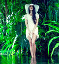 Portrait Of A Lady In A Tropical Forest Royalty Free Stock Images - 28183729