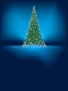 Abstract Green Christmas Tree On Blue. EPS 8 Stock Image - 28185431