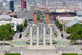 Montjuic Columns And Fountain On Plaza De Espana In Barcelona Royalty Free Stock Images - 28187559