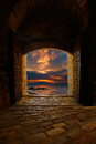 Sunset Through The Old Castle Stock Photos - 28193513