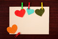 Card With Hearts On Wooden Background Royalty Free Stock Photography - 28199217