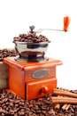 Coffee Grinder With Coffee Beans And Cinnamon Stock Image - 28208671