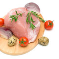 Piece Of Meat, Vegetables And Eggs On A White Background Royalty Free Stock Photography - 28212347
