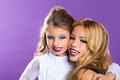 Two Friends Fashiondoll Kid Girls With Fashion Purple Makeup Stock Image - 28221911