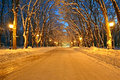 Night Illumination On The Winter Alley, Power, Royalty Free Stock Photography - 28230467