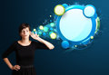 Young Woman With Abstract Modern Speech Bubble Stock Photos - 28249313