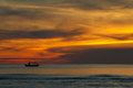 Silhouette Of Fishing Boat On Sunrise, HuaHin Thailand Stock Photos - 28252493