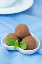 Chocolate Truffle With Fresh Mint Stock Photos - 28252963