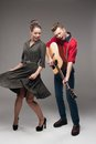 Young Dancing Retro Couple Royalty Free Stock Images - 28258829