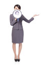 Woman With Megaphone Show Something Royalty Free Stock Photography - 28263987