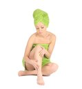 Spa Girl. Beautiful Young Woman After Bath With Green Towel. Isolated On White Royalty Free Stock Image - 28264606