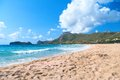 Empty Beach And A Blue Sea Royalty Free Stock Photo - 28270465