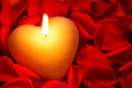 Heart Shape Candle And Rose Petals Stock Image - 28272401