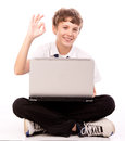 Teenager Using Laptop - Ok Gesture Royalty Free Stock Images - 28273809