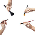 Female Hands With A Brushes For Makeup Royalty Free Stock Photo - 28295455