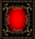 Red Frame Background With Gold Ornament Stock Images - 28305344