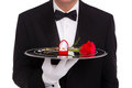 Butler With Engagement Ring And Red Rose Stock Photos - 28305843
