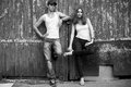 Emotive Portrait Of A Stylish Couple In Jeans Standing Together Royalty Free Stock Photos - 28306528