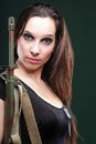 Army Woman With Gun - Beautiful Woman With Rifle Plastic Stock Photo - 28312370