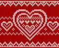 Valentines Day Red Knitted Vector Seamless Pattern Royalty Free Stock Image - 28312376