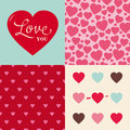 Set Of Wedding Valentine Heart Pattern Background Stock Photo - 28318440