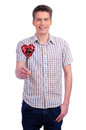 Valentines Day Man Holding Red Heart Royalty Free Stock Photo - 28335755