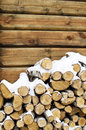 Birch Fire Wood At A Wall Of The House Royalty Free Stock Images - 28351659