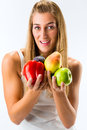 Healthy Eating, Woman With Fruits And Vegetables Stock Photography - 28366492