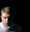 Close-up Of Young Man On Black Background, Low Key, Stock Image - 28373591